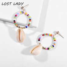Lost Lady New DIY Sea Shell Pendant Earrings Women Brincos Handmade Multicolor Statement Jewelry Fashion Gifts