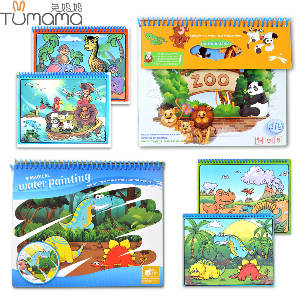 Tumama 2pcs/set Coloring Book Animal Dinosaurs Magic Water Drawing Book Doodle Magic Pen Drawing Board Kids Painting Book Toys minions the doodle book