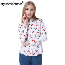 SPARSHINE Blouse Women Clothes 2017 Floral Cherry Printed Blusas Shirt Blusa Feminina 5XL Plus Size Female Blouse Ladies