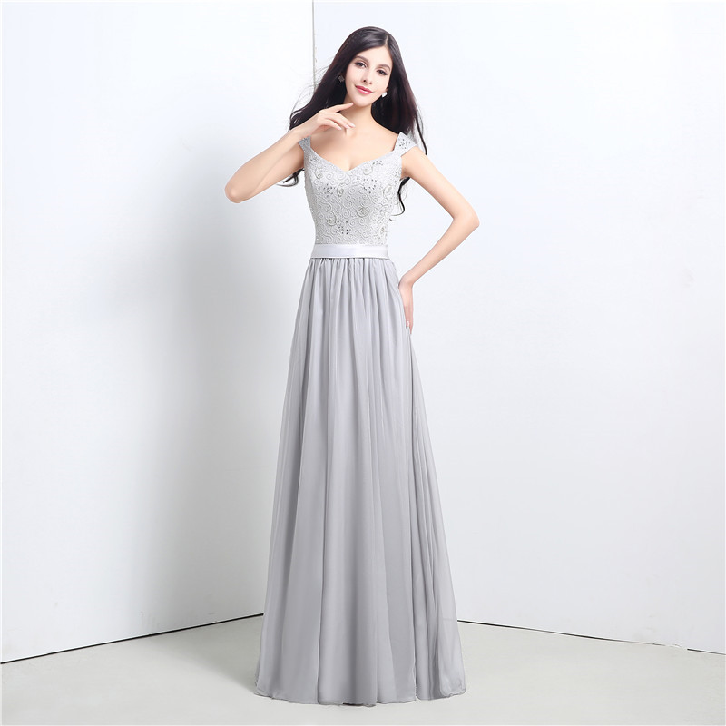 High Quality Silver Bridesmaid Dresses New Arrival Long Lace Chiffon