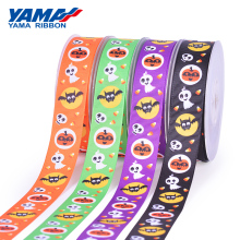 YAMA 1 inch 25mm Halloween Ribbon Printed Grosgrain Ribbons 100 yards/roll for Wedding Decoration Gift Party Crafts
