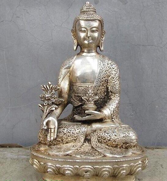 Tibet temple White Bronze Silver Phoenix Shakyamuni Medicine Buddha StatueTibet temple White Bronze Silver Phoenix Shakyamuni Medicine Buddha Statue