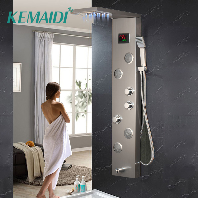 KEMAIDI Bathroom LED Shower Faucet Temperature Digital Display Shower Panel Body Massage System Jets Towel Shower Column Faucets