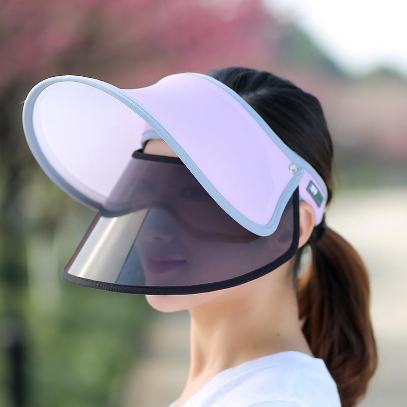 2018 Mulheres Da Moda Verão Viseira Vazio Top Sol Chapéu de Aba Larga  Grande Rosto Protetor 35e72d02c95