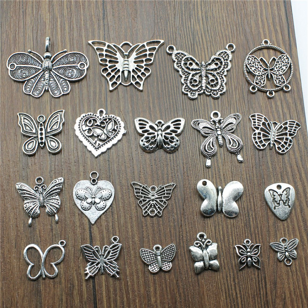 PJ105// 50pc Tibetan Silver Charm Heart-shaped Beads Accessories Jewelry Findings