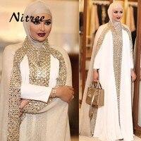 Dubai Kaftan Muslim Evening Dress Long Sleeve Modest White Champagne Rhinestone Prom Gowns Dresses Vestido Longo
