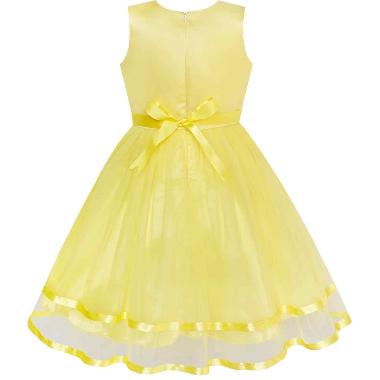 Sunny Fashion ملابس أطفال بنات زهرة فتاة فستان أصفر مربوط زفاف حفلة إشبينة العروس