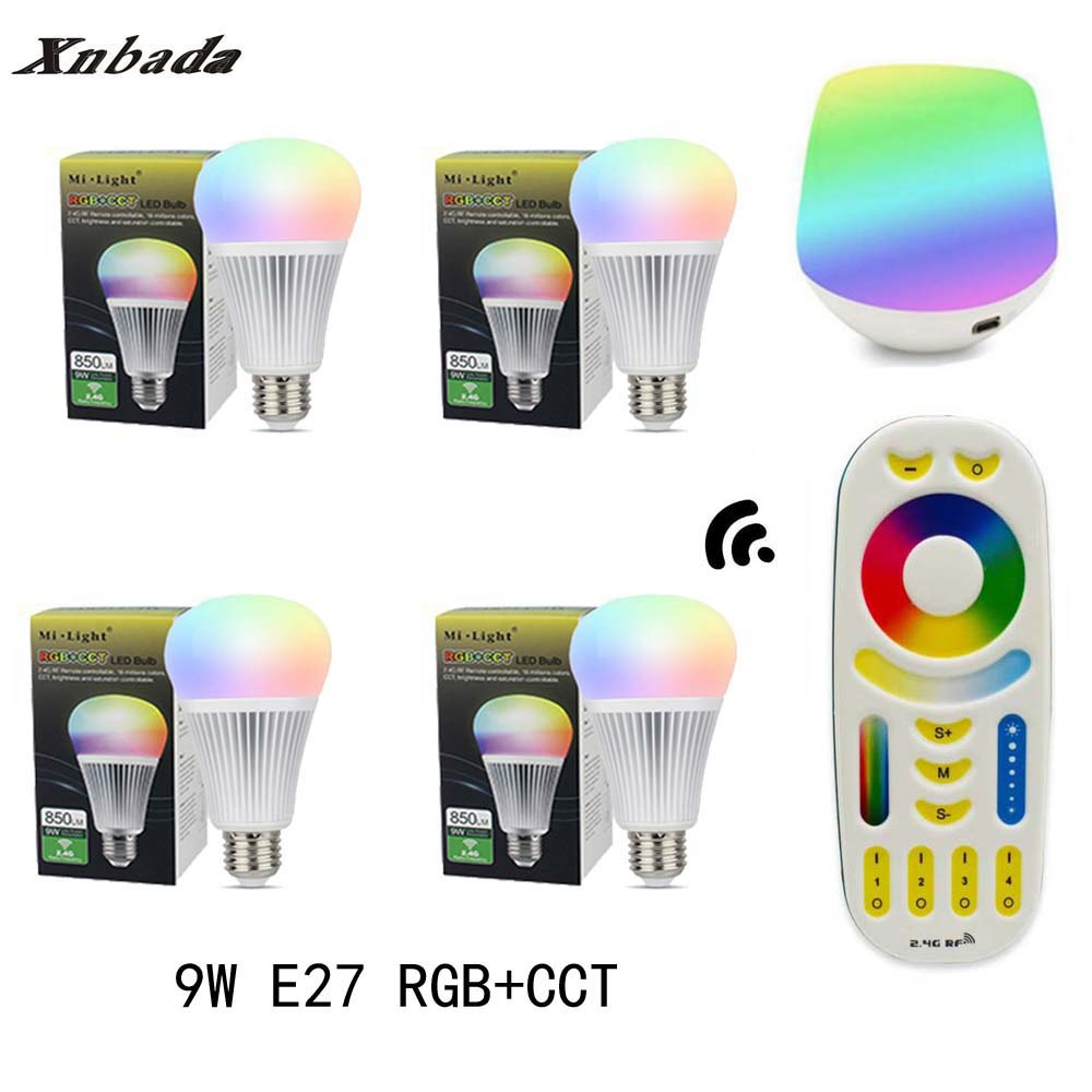 MiLight 9W Led Lamp E27 RGB+CCT Led Bulb +RGBWW Remote+IBX1 RF Remote WIFI Led Spotlight light Led light AC85-265V Free Shipping keyshare dual bulb night vision led light kit for remote control drones