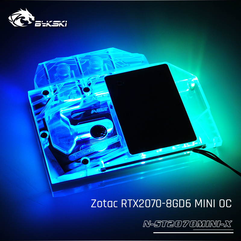 Bykski N-ST2070MINI-X, Full Cover Graphics Card Water Cooling Block,  For Zotac GeForce RTX2070-8GD6 MINI OCBykski N-ST2070MINI-X, Full Cover Graphics Card Water Cooling Block,  For Zotac GeForce RTX2070-8GD6 MINI OC