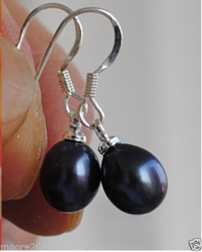Brand New  High Quality Fashion Picture Trendy 7-8mm Black oval teardrop freshwater pearls sterling silver earrings