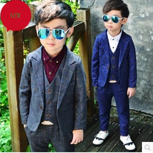 Children suit 2018 fashion children's clothing spring and autumn boy suit performance show plaid three / piece suit