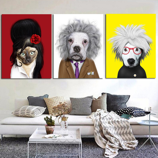 Framed Pictures Painting Animal Man Women Famous Person Cat Dog Mouse Wall Art For Living Room