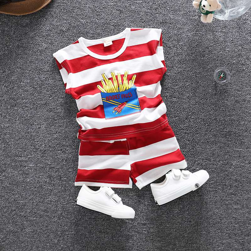 2019 New Summer Baby Infants Boys Cute Cotton Striped Cartoon French Fries T-shirt Tops+ Print Shorts 2pcs Clothing Sets C2232 Be Shrewd In Money Matters