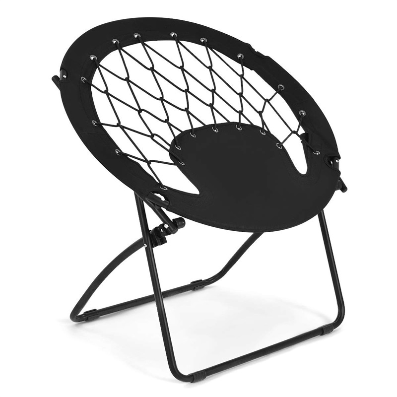 High Quality Steel Frame Netted Bungee Cords Outdoor Camping Folding Round Bungee Chair Lightweight Foldable Camping Chair