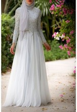 Beading Evening Dresses High Neck Sleeve A Line Floor Length Vestido Longo Chiffon Exquisite Hijab Style Evening Dress