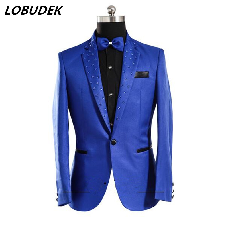 Male Korean slim fashion costume blue white color jacket show for party host studio stage wedding groom performance slim wear