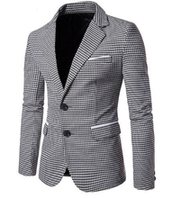 Loldeal Plaid Blazer Men 2018 Houndstooth  Two Buckle Suit Single Breasted Slim Fit Jacket Hombre