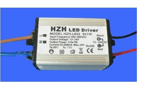 waterproof LED constant current driver;AC100V-260V input,6*1W/350ma output;CE ROHS approved