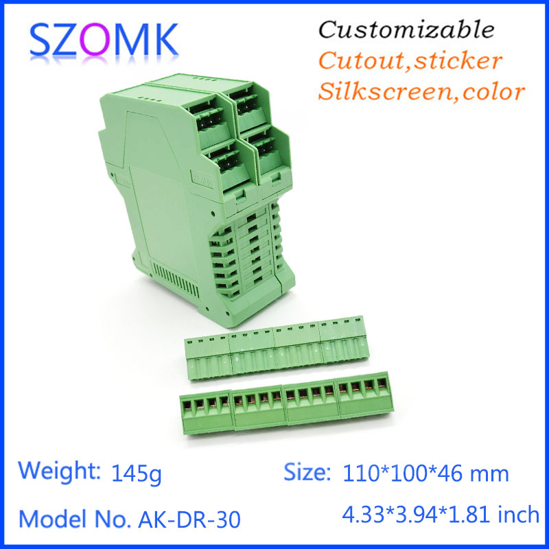 abs instrument enclosure green color case electronic din rail box 4 psc good quality housing electronics 110*100*46mm electronic din rail box 1 psc free shipping din rail box case plastic enclosures abs junction housing electronics housing
