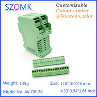abs instrument enclosure green color case electronic din rail box 4 psc good quality housing electronics 110*100*46mm