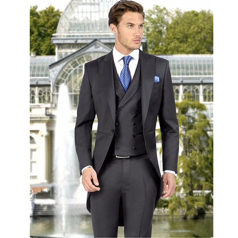 W:30 We Take Customers As Our Gods jacket+pants+tie The Cheapest Price High Quality Blue Mens Suits Groom Tuxedos Groomsmen Wedding Party Dinner Best Man Suits