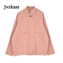 Jvzkass 2018 spring Korean loose college tooling short coat jacket female bf wind students Z168