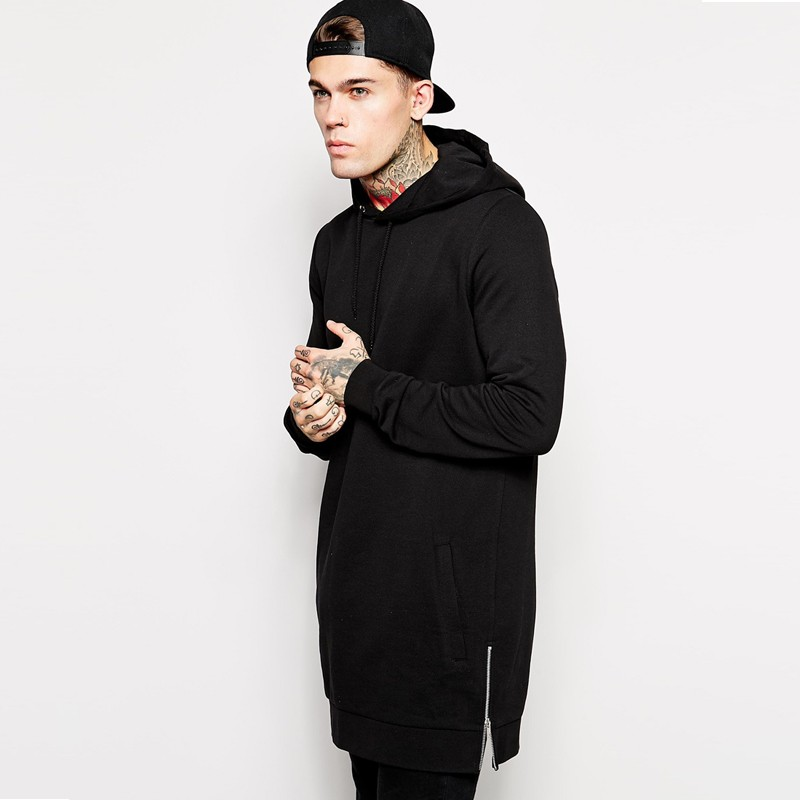 2018 mens hip hop fleece sweatshirts with hoody side zip to hem design long sweat shirt men longline hoodies for men