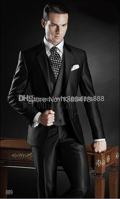 2016 - nueva llegada por encargo del novio esmoquin brillante negro mejor hombre muesca solapa del padrino hombres Wedding los trajes del novio ( Jacket + Pant