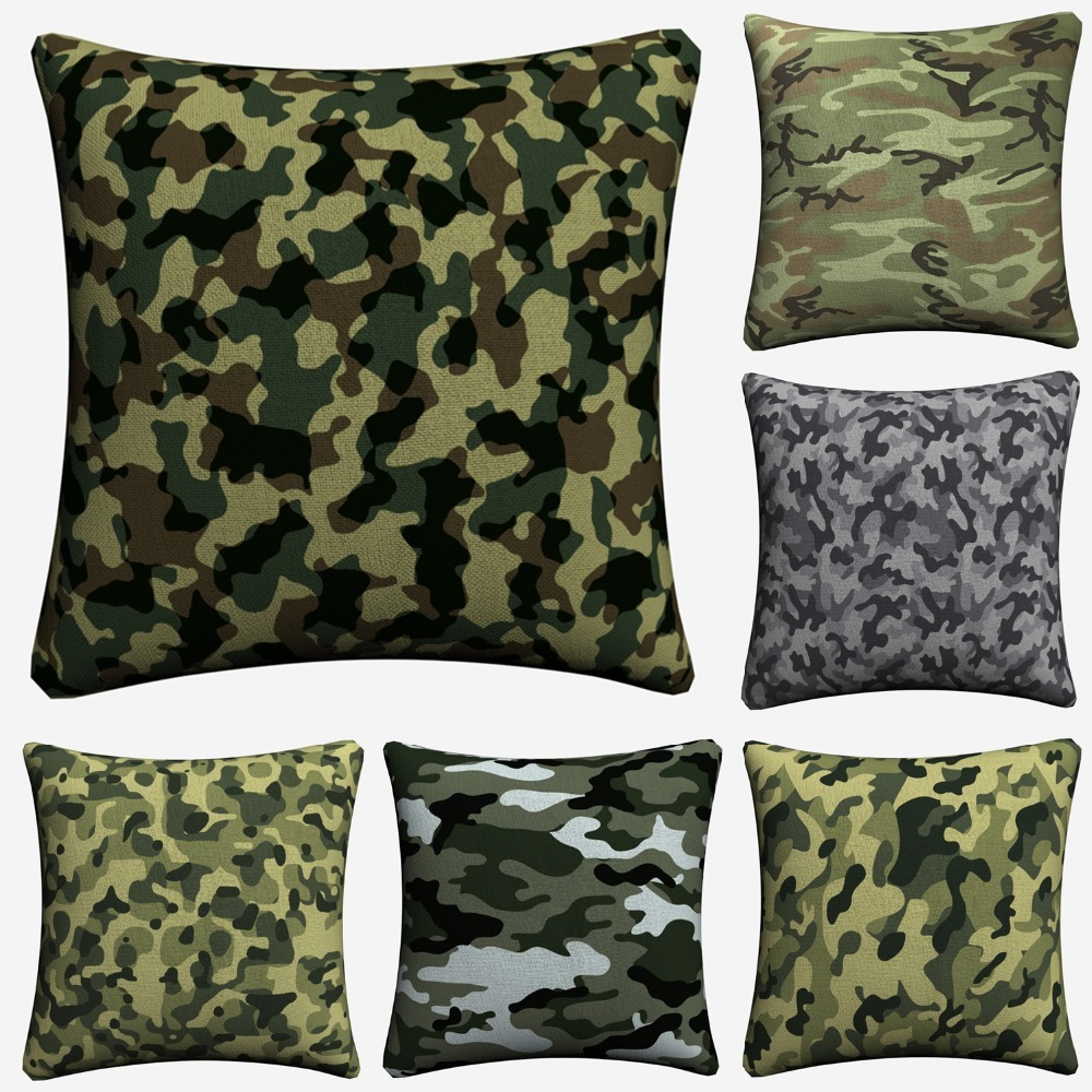 Camo Camouflage Pattern Army Painted Art Decorative Cotton Linen Cushion Cover Throw Pillow Cover For Chair Sofa Pillowcase Soft