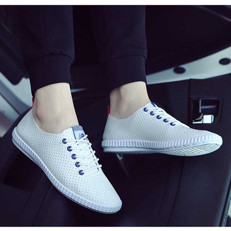 2016 Fashion Little White Black Men Causal Flat Shoes Spring Summer Hollow Out Breathable Shoes Man Lace Up Leather Hombre Shoes bakemonogatari shinobu oshino pvc figure new in box 20cm good quality