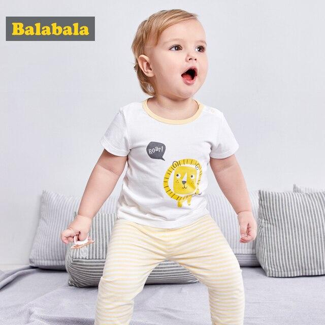 6c11e577cf89b Balabala 2018 القطن زي 2 قطعة الملابس مجموعة جديد الصيف بابيس مجموعة ملابس  الرضع الاطفال طفل الفتيان تي شيرت + السراويل السراويل