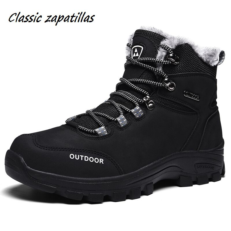 Men Boots Winter With Fur Warm Snow Boots Men Winter Boots Work Shoes Men Footwear Anti-Skidding Rubber Ankle Shoes Size 39-46