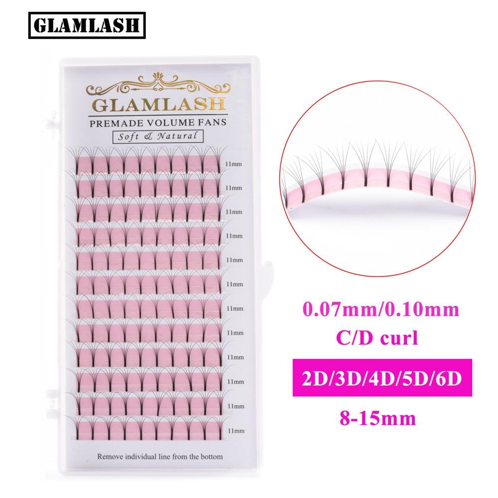 GLAMLASH 2D3D4D5D6D Long Stem Lash Premade Russian Volume Fans Mink Eyelash Extensions Makeup