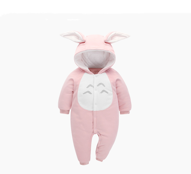 Cotton Soft Baby Rompers Kids Hooded Jumpsuit Lovely Totoro Rabbit Ear Warm Ha Clothes with Tail Autumn Winter Solid Color OutfiCotton Soft Baby Rompers Kids Hooded Jumpsuit Lovely Totoro Rabbit Ear Warm Ha Clothes with Tail Autumn Winter Solid Color Outfi