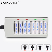 8 Slots LED Indicator Charger For AA AAA Batteries 8 Pcs Aa 3000mah Nimh Rechargeable Batteries
