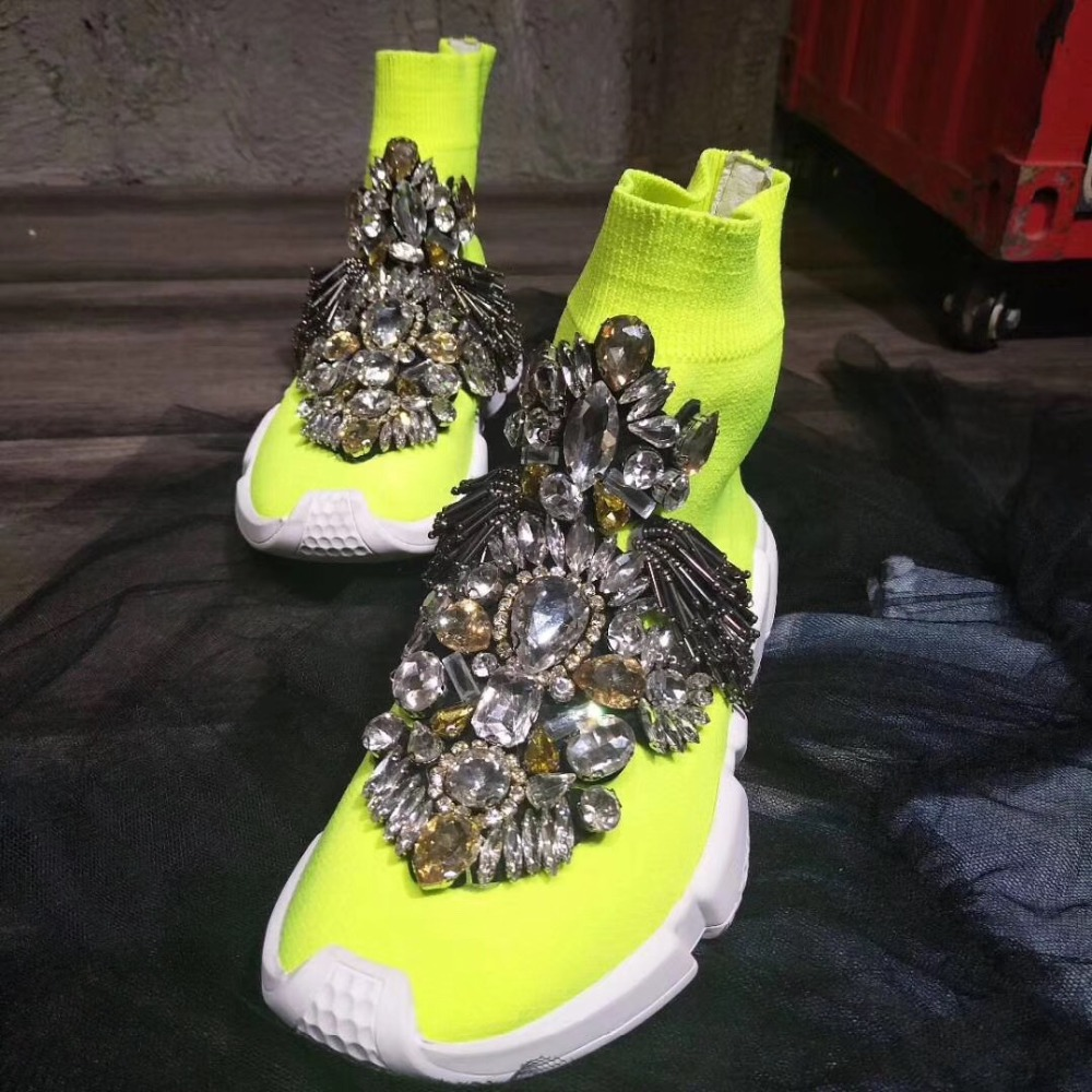 Yellow Shoes Woman Sneakers Rhinestone Shoes Sock Sneakers with Crystals  Fashion Sneakers Women Flats Shoes WK94-in Walking Shoes from Sports ... 844757f089e1