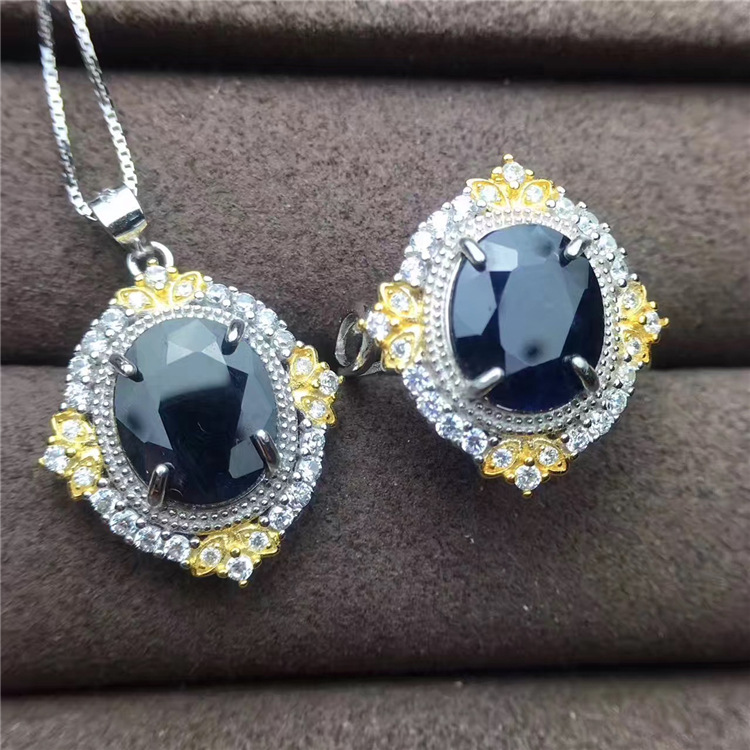 Fine jewelry 925 Sterling Silver Inlay Natural Sapphire Women Necklace Set with big size