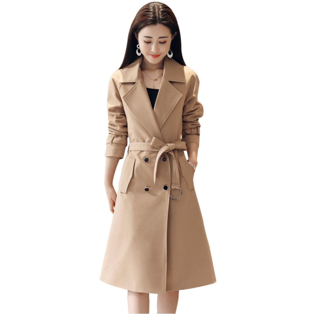 2019 Spring Autumn Women Double-Breasted Long   Trench   Coat Female Lace Up Waist Windbreaker Lady Solid Elegant Plus Size 4XL M86