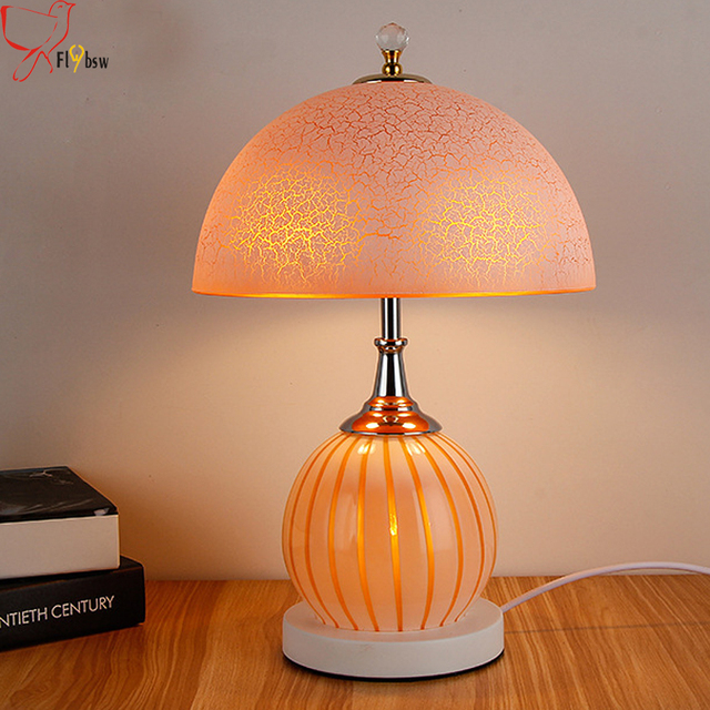 Modern Simple Bedroom Bedside Glass Table Lamp,yellow/white Galss Lamp Shade  Living Room