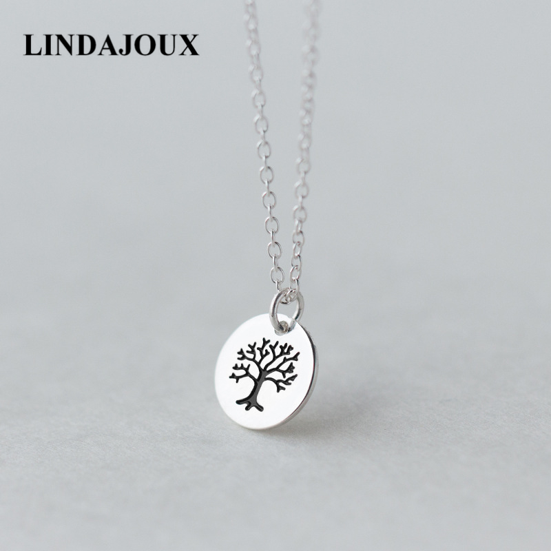 LINDAJOUX 925 Sterling Silver Round Life of Tree Pendant Necklace For Women Female Sterling-Silver-Jewelry Chain skagen skw2189