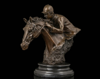 Art Deco Sculpture Horse Racing Man Ride Horse Bronze Statue R0713 Discount 35%