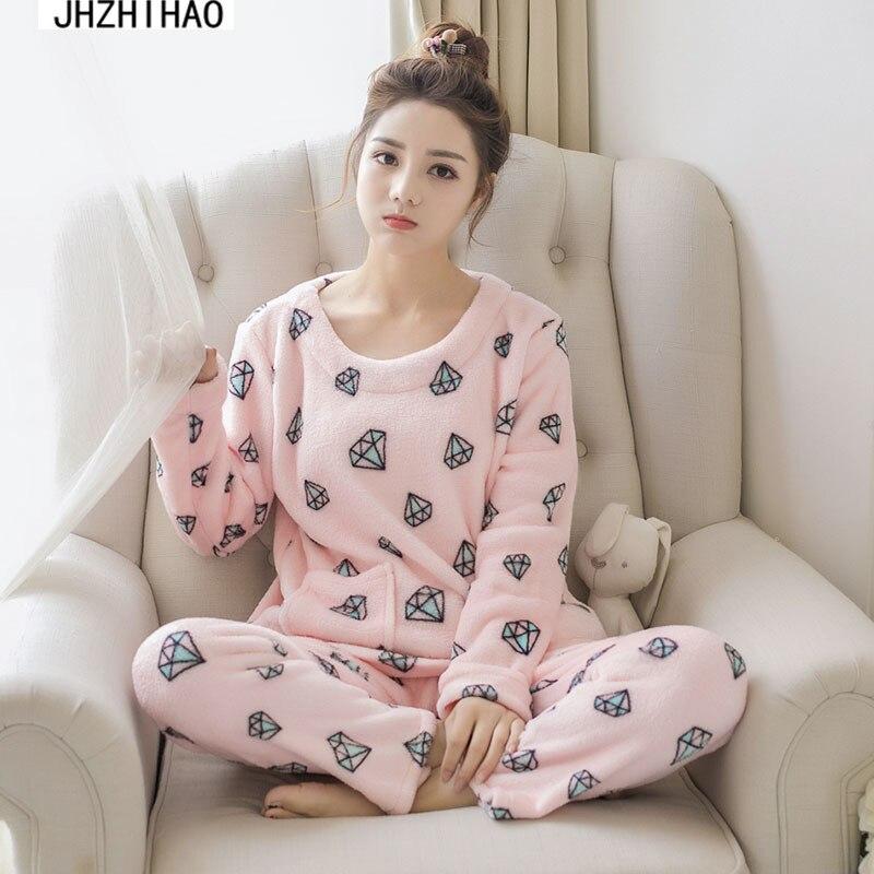 winter pajamas Sleep Tops Lounge Pajamas suit Female Pants Sleepwear Thick pajamas female pajama