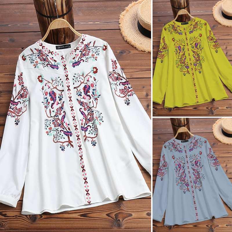 Women Bohemian Shirts Blouses 2019 Vintage Printed Ladies Tops Tunic Blusas ZANZEA Female Chic Work OL Shirt Chemise Plus Size