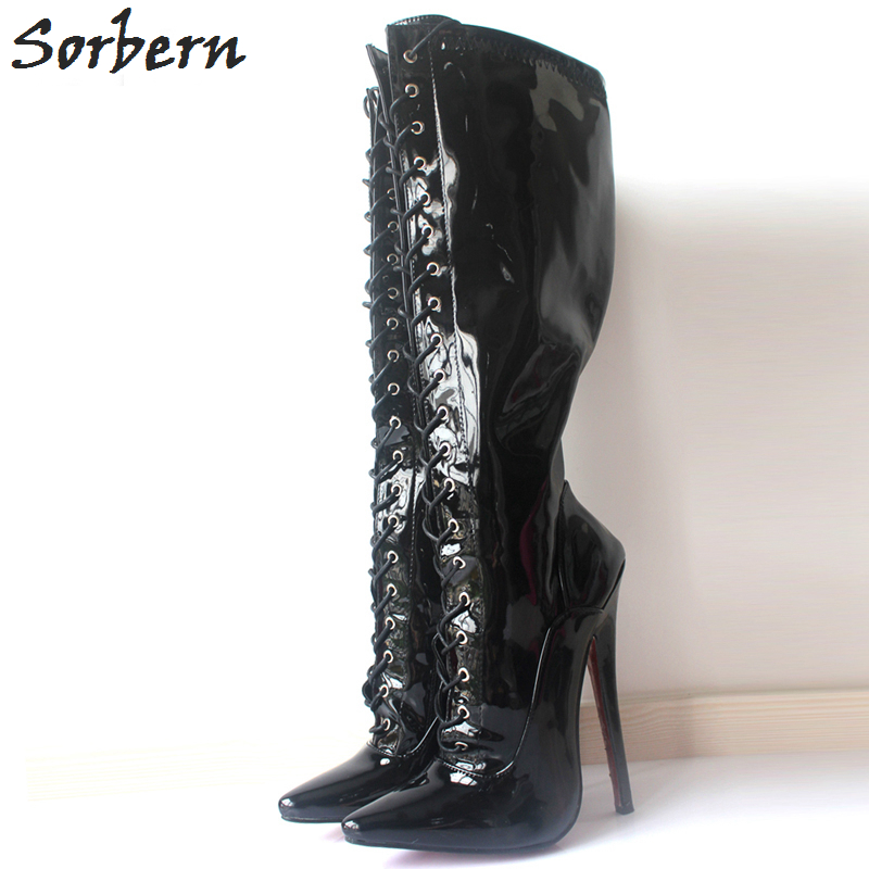 Sorbern Mid-Calf Women Boots Plus Size Lace Up High 18cm Heels Pointed Toe Real Image Patent Leather Shoes Woman Boots 36-46