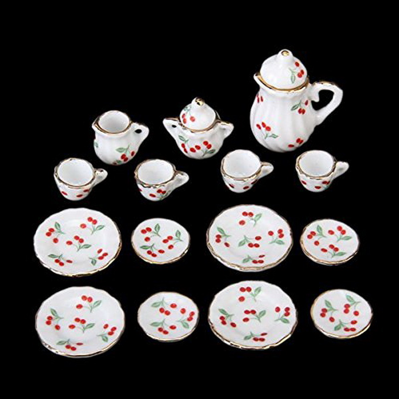 15pcs British Style 1/12 Dollhouse Miniature Dining Ware Porcelain Tea Set Dish Cup Plate Cherry Hot Sale