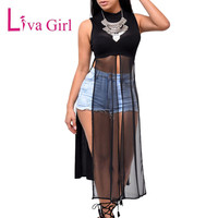 Liva Girl Women Summer Soild Long Tanks Mesh Patchwork Sleeveless Crop Tops Vest High Side Split