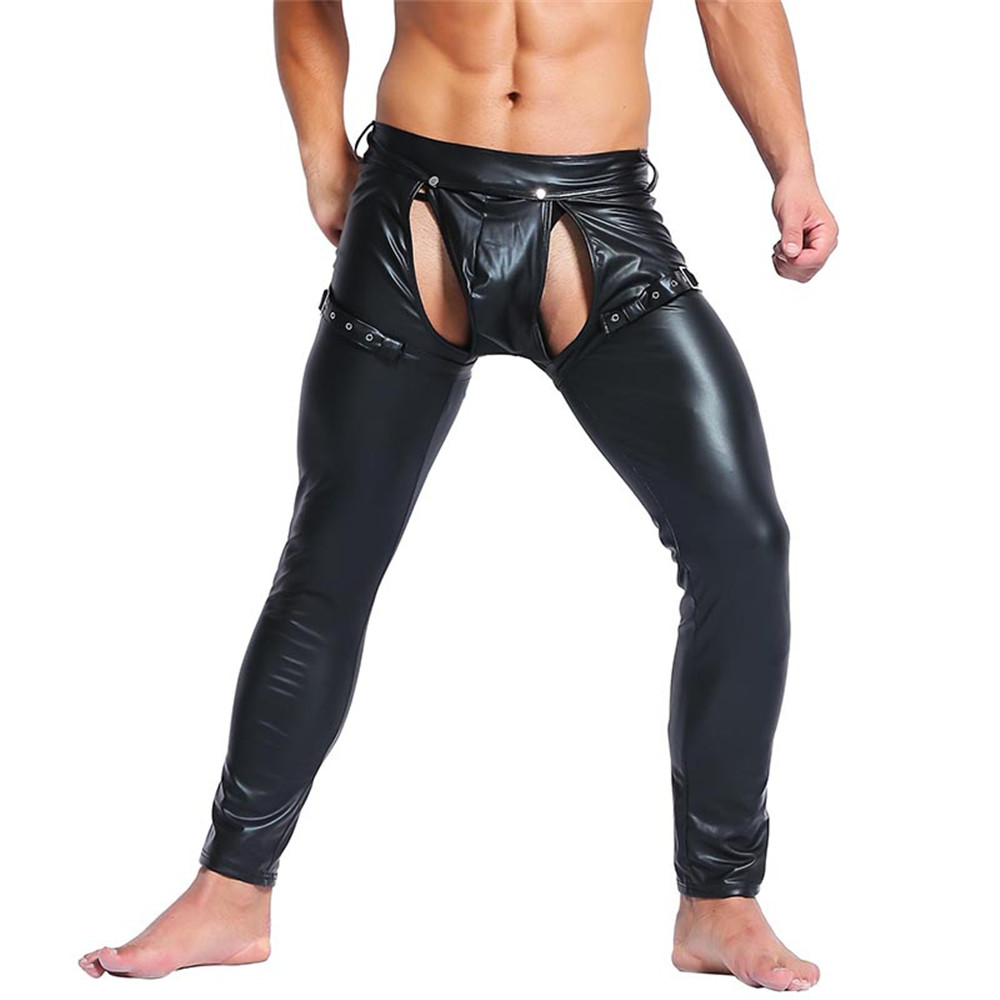 Gothic Male Skinny Vinyl Leather Pants Erotic Nightclub Stage Performance Open Crotch Trousers Men Fetish Crotchless Club Pants