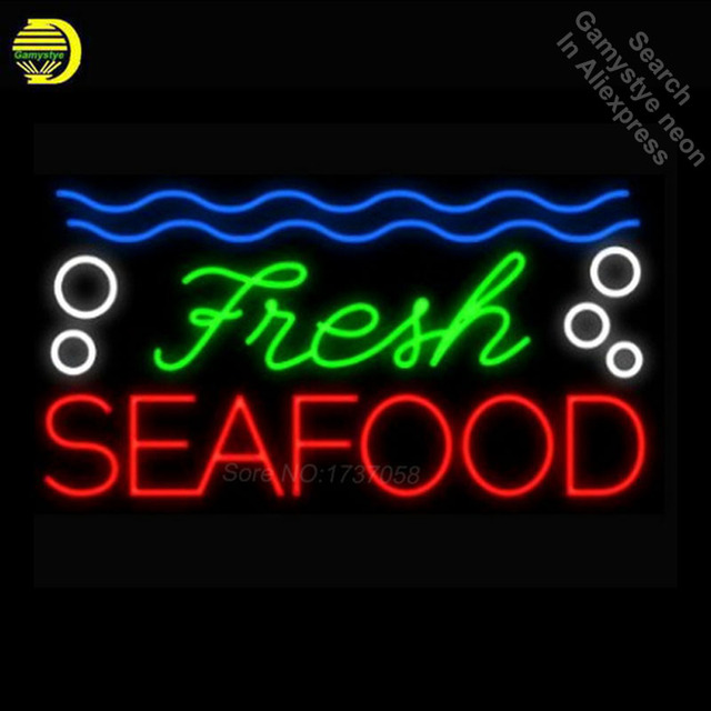 New Hot Fresh Seafood Neon Bulbs Neon Sign Real Glass Tube Handicraft Beer Sign Display Neon Light Signs for Store Attract 19x15