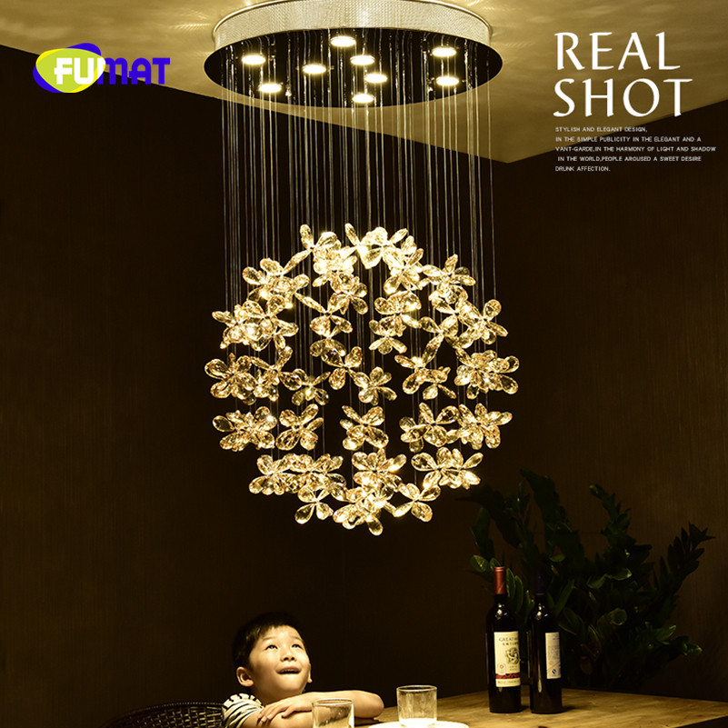 FUMAT Modern Living Room Pendant Lamp Flower Lustre Crystal Pendant Light Round LED Ceiling Lamp Light for Bedroom Restaurant