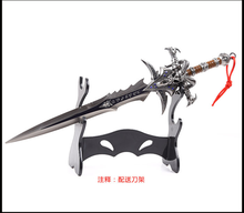 30CM High Quality Alloy Frostmourne Sword Inlaid Blue Diamond, WOW Lich King Arthas Weapon Model with Tool Carrier Min Sword aosst king weapon shimada hanzo ninja weapon genji shadow master zed shuriken high quality zinc alloy model kids christmas gift
